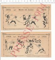 2 Scans 1904 Humour Canne Thème Sport De Combat Alpinisme Chute Métier Matelassière Réparation Matelas  216PF10XH - Vecchi Documenti