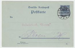 Germany - 2 Pf Stationery, Cancelled Plon 1900, Sent To Sodafabrik Union, Ref 02-32 - Germania