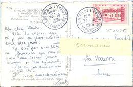 EUROPA 1956 15 F. YT 1076 TIMBRE SEUL Sur CP MAISON DE L'EUROPE TàD CONSEIL DE L'EUROPE STRASBOURG 24-10-1956 - Postmark Collection (Covers)