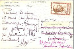 HÉROS DE LA RÉSISTANCE LOUIS MARTIN-BRET 20 F. YT 1201 TIMBRE SEUL Sur CP SECAP BAR-LE-DUC Du 22-8-1959 - Postmark Collection (Covers)