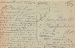 CARTE. EN FM. 12 6 40. CENTRE D'ORGANISATION  D'ARTILLERIE DCA. CLERMONT-FERRAND POUR NICE - Postmark Collection (Covers)