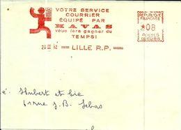 Lettre  EMA Havas Cg  Machine Affranchir Service Courrier Theme Poste Metier Lille B/1492 - Postmark Collection (Covers)
