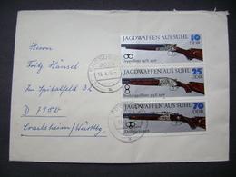 Cover Brief 1979 DRESDEN - Spitalfeld, Württ., Jagdwaffen Aus Suhl Bande 10+25+70 Pf - [6] Democratic Republic