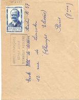 HÉROS DE LA RÉSISTANCE JEAN-BAPTISTE LEBAS 20 F. YT 1251 TIMBRE SEUL Sur LETTRE SECAP ROUBAIX 7-8-1957 - Postmark Collection (Covers)