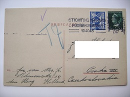 Netherland Postcard 1947 ROTTERDAM To Czechoslovakia, Flamme STICHTING 1940-1945 POSTGIRONUMMER 194045 - Periode 1891-1948 (Wilhelmina)