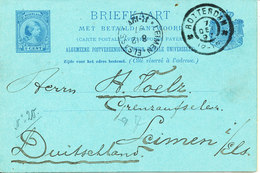 Netherlands Postal Stationery Lettercard Double Sent To Germany Rotterdam 7-12-1897 - Covers & Documents