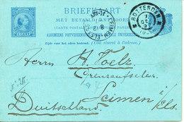 Netherlands Postal Stationery Lettercard Double Sent To Germany Rotterdam 7-12-1897 - 1891-1948 (Wilhelmine)