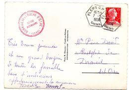 ORNE - Dépt N° 61 = FLERS CP N° ? 1956 = CACHET MANUEL HEXAGONAL Pointillé G7 = CIRCUIT Correspondant Postal - Bolli Manuali