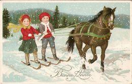 (ski) Deux Enfants Faisant Du Skijöring, TBE - Sports D'hiver