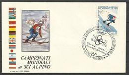 1970 Italia Italy Repubblica MONDIALI DI SCI ALPINO  SKI Busta Slalom Femminile Ortisei Annullo Commemorativo - Sci