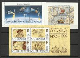 1991 1992 EUROPA CEPT EUROPE 3 Foglietti MNH**: Svezia, Faroer, Guernsey 3 Souv. Sheets Sweden, Faroer, Guernsey - Europa-CEPT