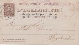 1890 CARTOLINA POSTALE Effigie C.10/15 Viaggiata Limone S. Giovanni (19.6) - Poststempel