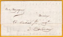 1844 - Lettre Avec Corresp. Et Facture De Cayenne, Guyane Française Vers Bordeaux Par Navire Mazagran - Guyane Française (1886-1949)