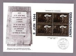 Guinée Republique Neuf ** Bloc Feuillet Pa 291 Ou 292 Timbre OR  Général Charles De Gaulle Débarquement 6 Juin 1944 - Guinée (1958-...)