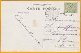 1909 - CP De Cayenne, Guyane Française Adressée à M. S. Paris, France - Voir à Côté Une Autre CP Adressée à Madame S. - - Guyane Française (1886-1949)