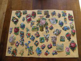 CHROMO DECOUPIS GAUFRÉE  / JOLI LOT DE DIFFÉRENTS PETITS MOTIFS SUR LES FLEURS - Flowers