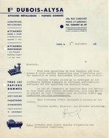 75 PARIS  COURRIER 1937 Attaches Métalliques Papiers Gommés Ets DUBOIS ALYSA - A34 - France