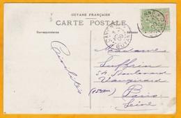 1909 - CP De Cayenne, Guyane Française Adressée à Mme S. Paris, France - Voir à Côté Une Autre CP Adressée à M. S. - Guyane Française (1886-1949)