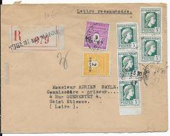 1947 - TYPE MARIANNE D'ALGER RARE SUR LETTRE + ARC DE TRIOMPHE - ENVELOPPE De RECOMMANDEE De NOGENT SUR MARNE - Marcophilie (Lettres)