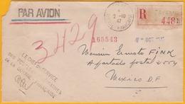 1947 - Lettre Recommandée Par Avion En Franchise Postale De Cayenne, Guyane Française Vers Mexico, Mexique - Cad Arrivée - Guyane Française (1886-1949)