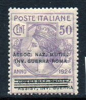 ITALY : T119  -  1924  50 C.  MNH : Sass. N. 74  -  Sassone  € 25 - Versichert