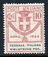 ITALY : T118  -  1924  10 C.  MNH : Sass. N. 34  -  Sassone  € 40 - 1900-44 Victor Emmanuel III.