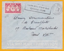 1949 - Enveloppe De Cayenne, Guyane Française Vers Paris, France -1e Liaison Aérienne Directe - Guyane Française (1886-1949)