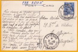 1951 - CP Par Avion De Cayenne Vers St Affrique, Aveyron - Marianne Gandon 15 F Seul - Vue Forêt De Bambous, Trinidad - Guyane Française (1886-1949)