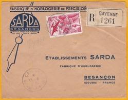 1951 - Envel. Recom. Commerciale Illustrée De Cayenne, Guyane Française Vers Besançon, France - Affrt 50 F  PA - Guyane Française (1886-1949)