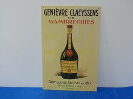 "Plaque Métal ""GENIEVRE CLAEYSSENS DE WAMBRECHIES"" - Advertising (Porcelain) Signs"