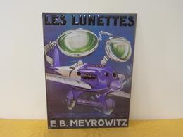 """Plaque Métal """"LES LUNETTES E.B.MEYROWITZ"""" - Advertising (Porcelain) Signs"""