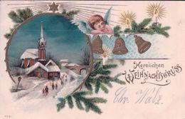 Fröhliche Weihnachten, Angelots Et Paysage, Litho Gaufrée (3587) - Anges