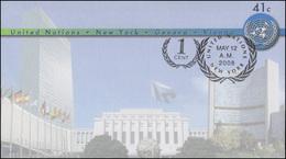 UNO New York Umschlag U 19A UNO-Emblem 41+1 Cent 2008, 164x93, FDC 12.5.2008 - New York - Hoofdkwartier Van De VN