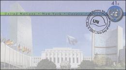 UNO New York Umschlag U 18A UNO-Emblem 41 Cent 2007, 164x93, FDC 9.8.2007 - New York - Hoofdkwartier Van De VN