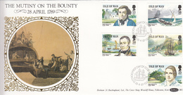 Isle Of Man 1989 Mutiny On Bounty On Silk FDC - Isla De Man
