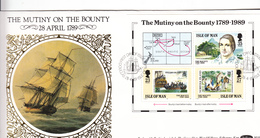 Isle Of Man 1989 Mutiny On Bounty M/Sheet On Silk FDC - Isla De Man