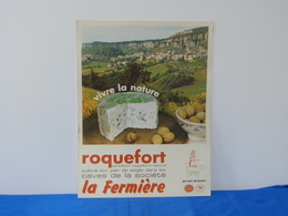 """Affiche Cartonnée """"ROQUEFORT"""" La Fermière. - Affiches"""