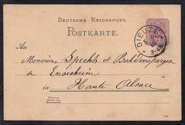 DIEUZE - MOSELLE / 1888 ENTIER POSTAL POUR ENSISHEIM - ALSACE (ref LE2193) - Alsace-Lorraine