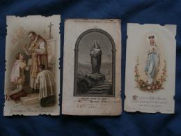 Lot 3 Images Religieuses, Souvenir Communion 1892, Carte Archiconfrérie Méres 1866, ND De Lourdes L368 - Devotieprenten