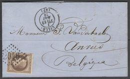 N°30 SEUL Sur LAC De 1870 De Lille Pour La Belgique - Storia Postale