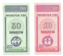 Billets - Mongolie  - 10 Et 50 Mongo 1993 -  Neuf - Non Circulé - - Mongolie