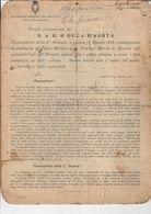 """DISCORSO ALLA 3ª ARMATA DI S.A.R. DUCA DI AOSTA """"CONSEGNA DELLE MEDAGLIE AL VALOR MILITARE E CROCI AL MERITO"""" 15/8/1915 - Documenti"""