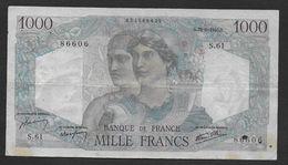 """1000 Francs  """" Minerve Et Hercule """"  Du  28 - 6 - 1945 - 1871-1952 Anciens Francs Circulés Au XXème"""
