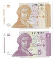 Billets - Croatie - 1,et 5 Dinars 1991 -  Neuf - Non Circulé - - Croatie