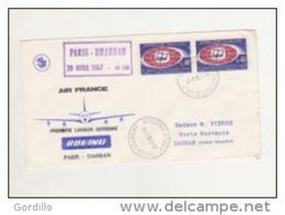 Paris , Dhahran Premiere Liaison Aerienne Air France Par Boeing Le 29 Avril 1967 - Postmark Collection (Covers)
