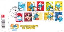3814 3823 BD P1630II FDC   Rare 50 Ans Smurf Schtroumpf Peyo 25-9-2008 6900 Marche-en-Famenne €15 - FDC