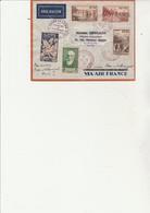 SUPERBE LETTRE AFFRANCHIE N° 345 A 347+N°343 OBLITERE CAD ROUGE FOIRE ECHANTILLONS LYON 1937 + VIGNETTE +BRON AEROPORT - Postmark Collection (Covers)