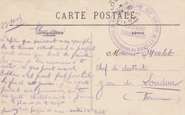 CARTE. EN FM. 24 10 15. 5° REGIMENT DU GENIE DETACHEMENT DE ROMILLY. POUR LOUDUN - Postmark Collection (Covers)
