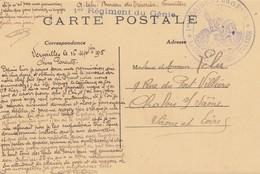CARTE. EN FM. 16 9 15. 1° REGIMENT DU GENIE. CACHET + GRIFFE. BUREAU DU TRESORIER VERSAILLES POUR CHALON S SAONE - Postmark Collection (Covers)