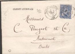 LSC De Lyon Pour Audincourt (25) Tàd Type 17 30 Juillet 1877 Sur 25c Sage - Marcophilie (Lettres)